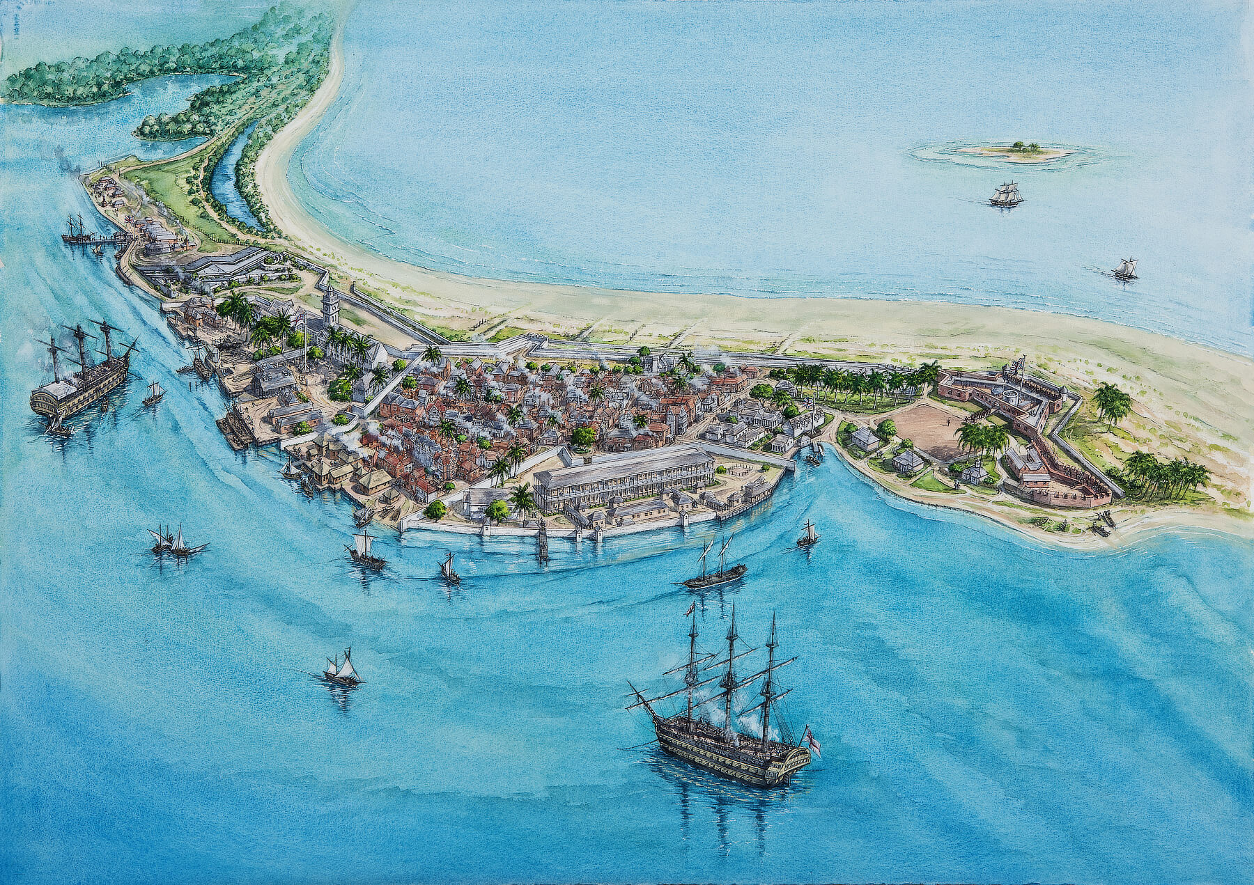 Port Royal circa 1840 after rebuilding from the Earthquake